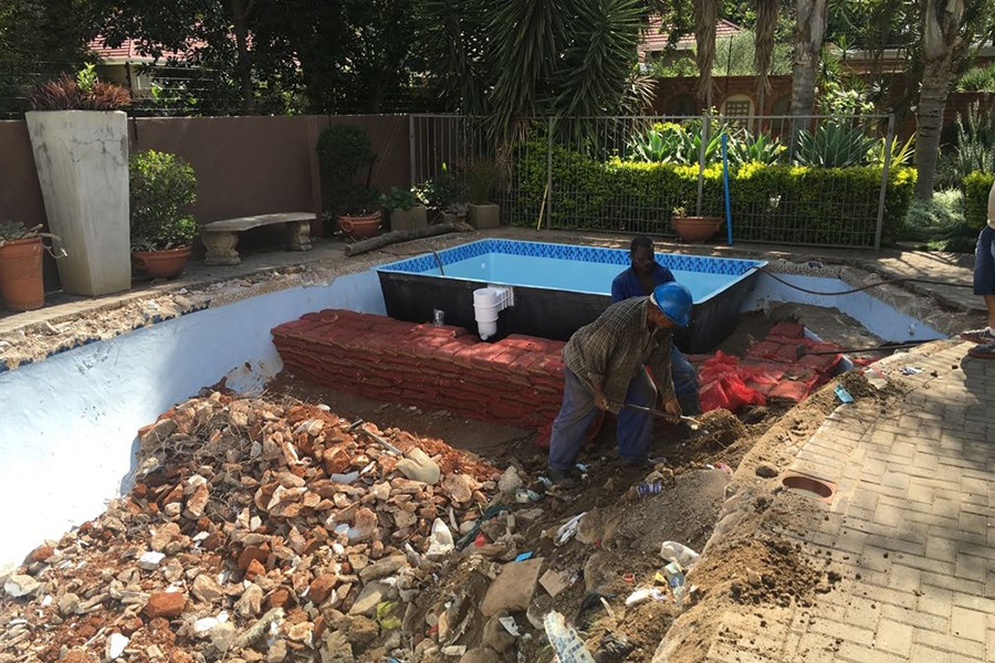 Renovation Large pool to smallerFibreglass shell