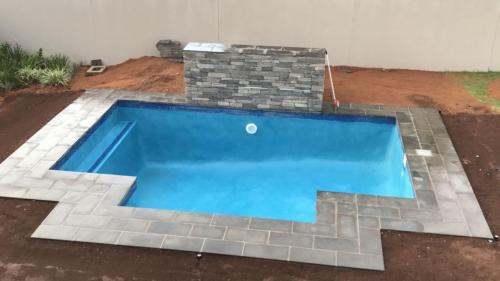 Gunite & blue marblite 7 waterfeature